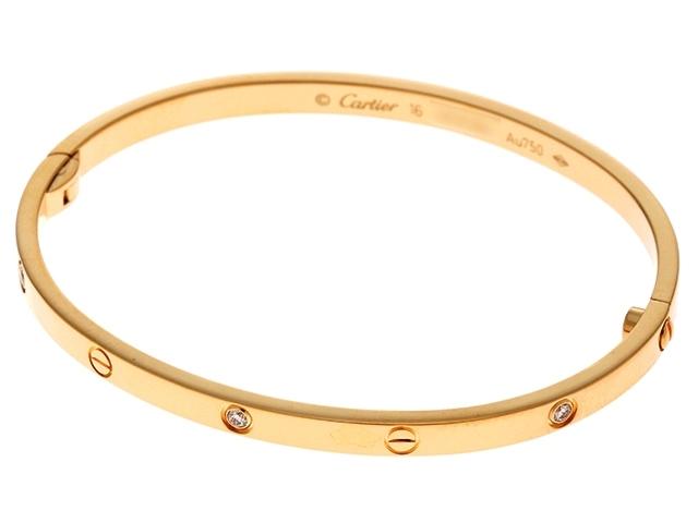【送料無料】Cartier カルティエ ラブブレスSM ハーフダイヤブレスレット イエローゴールド ダイヤモンド 18.0g #16【430】【中古】【大黒屋】
