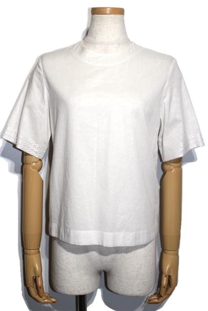 HERMES エルメス トップス クルーネックシャツ レディース36 ホワイト 刺繍 コットン【200】【中古】【大黒屋】