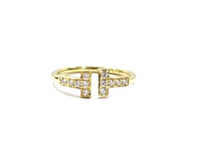 [送料無料]TIFFANY&CO リング Tワイヤーリング イエローゴールド ダイヤモンド 10.5号【204】【中古】【大黒屋】