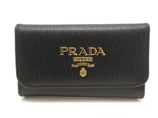 PRADA プラダ 6連キーケース 1PG222  カーフ型押し ブラック  ゴールド金具 【205】【中古】【大黒屋】