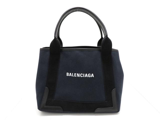【送料無料】BALENCIAGA バレンシアガ バッグ トートバッグ ネイビーカバS キャンバス カーフ ポーチ 339933 【431】【中古】【大黒屋】