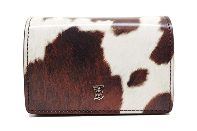 BURBERRY バーバリー チェーンショルダーカードケース 牛柄ホワイト ブラウン レザー【471】【中古】【大黒屋】