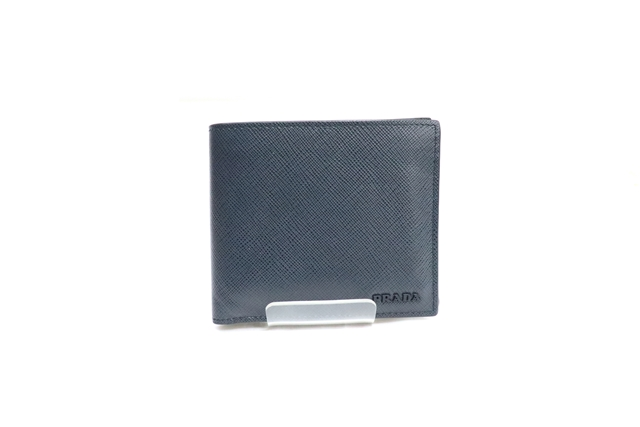 PRADA プラダ 二つ折財布 財布 ネイビー サフィアーノ【471】【中古】【大黒屋】