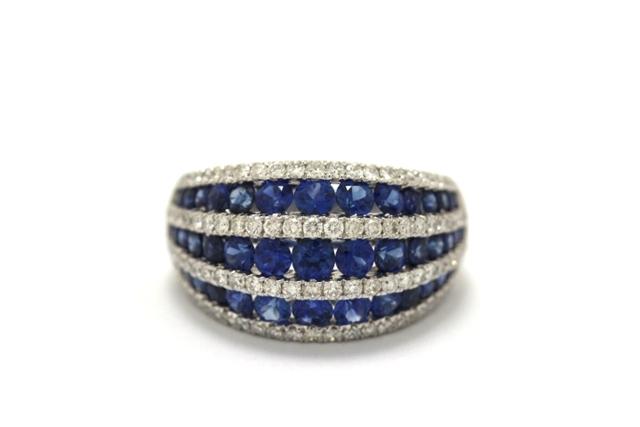 【送料無料】JEWELRY ノンブランドジュエリー デザイン リング 指輪 K18WG ダイヤモンド 0.90ct サファイア 2.65ct 12号 【460】【中古】【大黒屋】