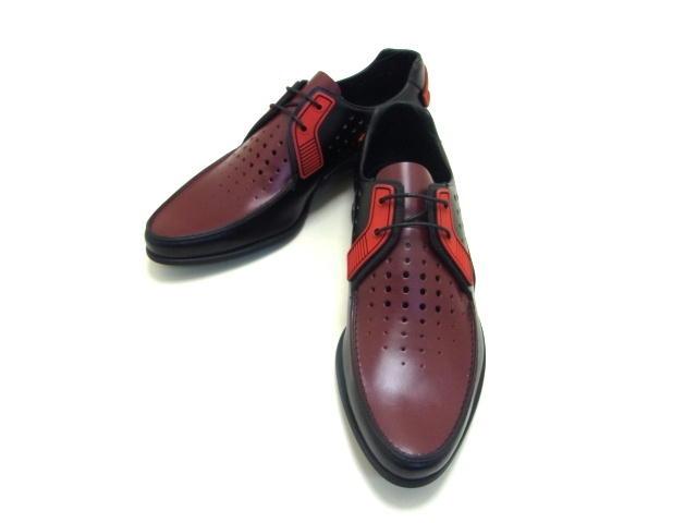 PRADA プラダ 革靴 パンチングカーフ ブラック/レッド 6 【432】【中古】【大黒屋】