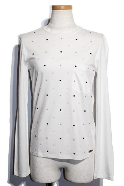 CHANEL シャネル Tシャツ レディース36 ホワイト コットン ココマーク P55403K07251 2016年 16K ドット【200】【中古】【大黒屋】