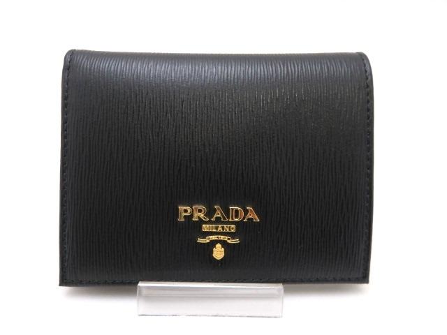 PRADA プラダ 二つ折財布 1MV204 ブラック 【436】【中古】【大黒屋】