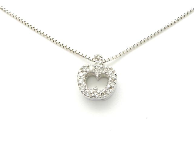 ノンブランドジュエリー ネックレス アップル りんご K18WG ダイヤモンド 0.10ct 【437】【中古】【大黒屋】