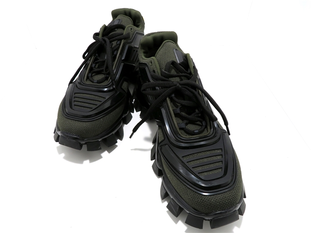 PRADA プラダ 靴 スニーカー 9 カーキ ファブリック 【437】【中古】【大黒屋】