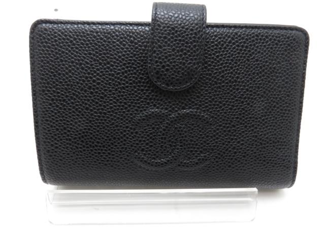 【送料無料】CHANEL  二つ折財布 キャビアスキン ブラック【431】【中古】【大黒屋】