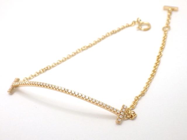 【送料無料】TIFFANY&CO  ティファニー  Tスマイル ブレスレット  K18PG  ピンクゴールド  ダイヤモンド 【430】【中古】【大黒屋】