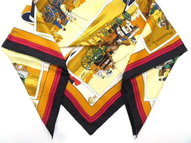 HERMES  エルメス 衣料品  スカーフ   カレ90  ブラック/マルチカラー  シルク 【430】【中古】【大黒屋】