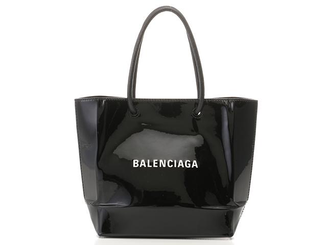 【送料無料】BALENCIAGA バレンシアガ ショルダーバッグ ショッピングトート XXS ブラック エナメル カーフ【434】【中古】【大黒屋】