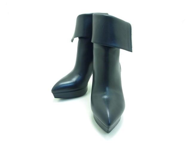 SAINT LAURENT サンローラン ショートブーツ ブラック カーフ 37 【432】【中古】【大黒屋】