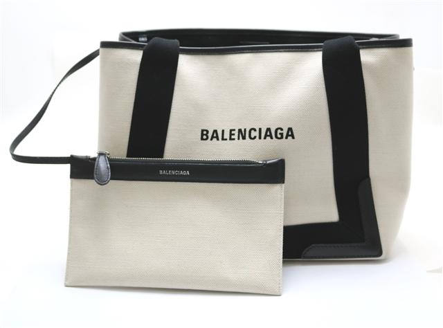 【送料無料】BALENCIAGA  バッグ トートバッグ ネイビーカバS  ナチュラル ブラック  キャンバス  カーフ 【433】【中古】【大黒屋】