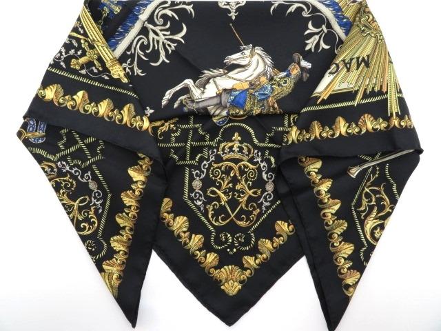 HERMES  エルメス 衣料品  スカーフ  カレ90  ブラック/イエロー/ブルー  シルク 【430】【中古】【大黒屋】