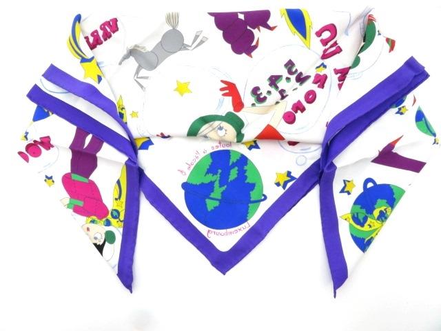HERMES エルメス  衣料品  スカーフ  カレ70  ホワイト/パープル/マルチ  シルク 【430】【中古】【大黒屋】