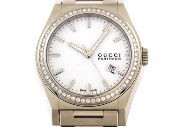 【送料無料】GUCCI グッチ パンテオン ダイヤベゼル 115.2 クオーツ メンズ腕時計 SS ホワイト ダイヤモンド 白文字盤 ステンレス【472】【中古】【大黒屋】