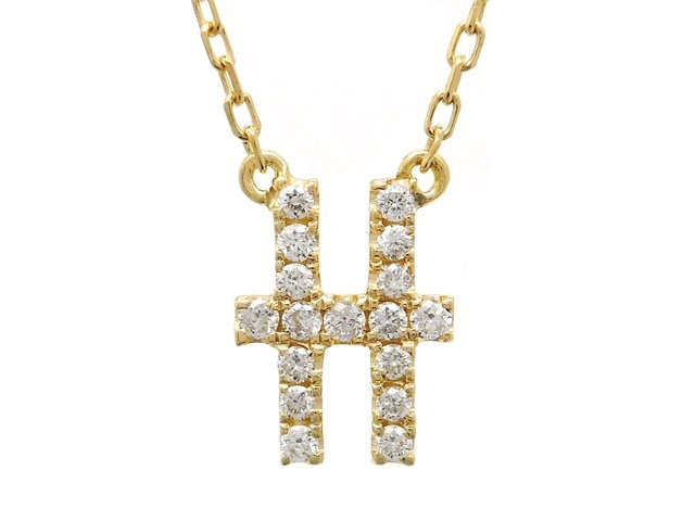 AHKAH アーカー 貴金属・宝石 ネックレス イニシャル H YG イエローゴールド ダイヤ 0.07 1.4g 【200】【中古】【大黒屋】