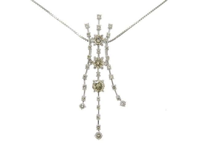 【送料無料】JEWELRY 貴金属・宝石 ネックレス K18ホワイトゴールド/ダイヤモンド1.00/5.7g【205】【中古】【大黒屋】