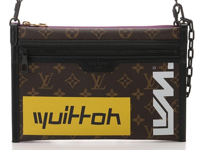 LOUIS VUITTON フラット・メッセンジャー モノグラム×パープルデニム【430】【中古】【大黒屋】