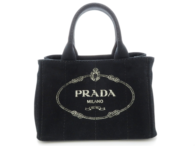 PRADA プラダ ハンドバッグ カナパ ブラック/GP キャンバス 【204】【中古】【大黒屋】
