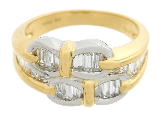 JEWELRY 貴金属・宝石 リング 指輪 ダイヤリング K18 イエローゴールド PT900 プラチナ ダイヤ 1.06ct 6.8g 12号 【200】【中古】【大黒屋】