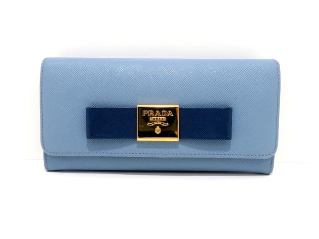 PRADA プラダ 長財布 サフィアーノ ライトブルー ブルー リボン 1MH132 【436】【中古】【大黒屋】