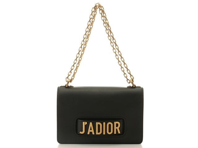 Dior J'ADIOR チェーンフラップ ブラック×GP カーフ【430】【中古】【大黒屋】