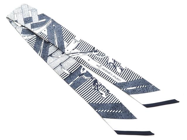 HERMES エルメス 衣料品 ツイリー トゥイリー スカーフ シルク ネイビー ホワイト 【430】【中古】【大黒屋】