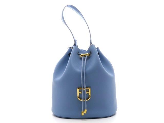 FURLA フルラ バッグ ショルダーバッグ バケットバッグS ブルー 型押し 【204】【中古】【大黒屋】
