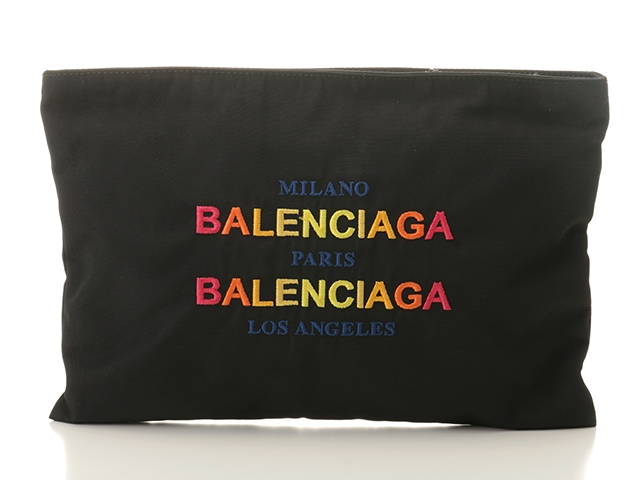 BALENCIAGA バレンシアガ セカンドバッグ クラッチバッグ 459745 ナイロン ブラック 【432】【中古】【大黒屋】