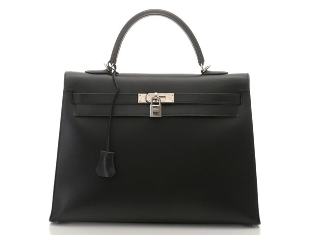 HERMES エルメス ハンドバッグ ケリー35 外縫い ボックスカーフ ブラック シルバー金具 □F刻印 2002年製 【430】【中古】【大黒屋】
