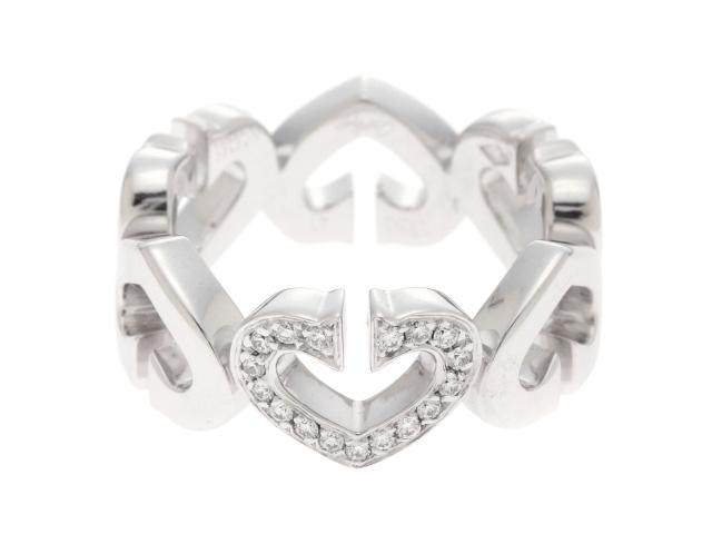 Cartier カルティエ Cハートリング B40415 WG(K18WG)/1モチーフダイヤモンド #47(日本サイズ約7号) 7.6g 【436】【中古】【大黒屋】