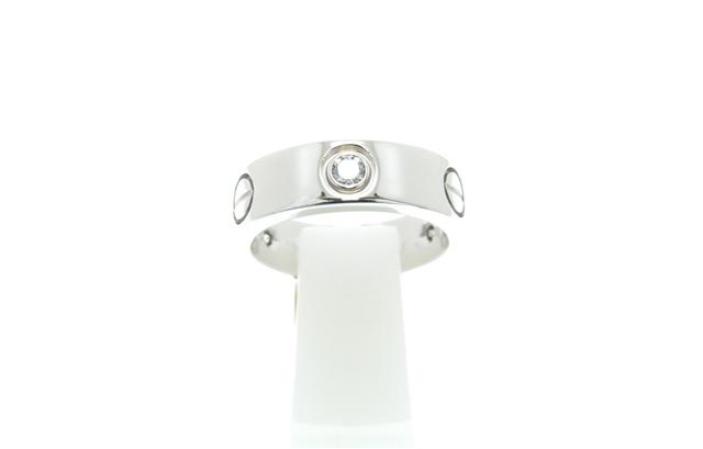 Cartier カルティエ 貴金属・宝石 ラブリング ラブRハーフ ホワイトゴールドWG ダイヤモンド(3個) 8.8g 51号 【204】【中古】【大黒屋】