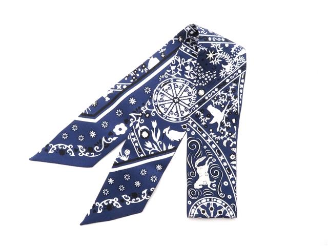HERMES エルメス 衣料品  トゥイリー  スカーフ   ネイビー/ホワイト  シルク 【430】【中古】【大黒屋】