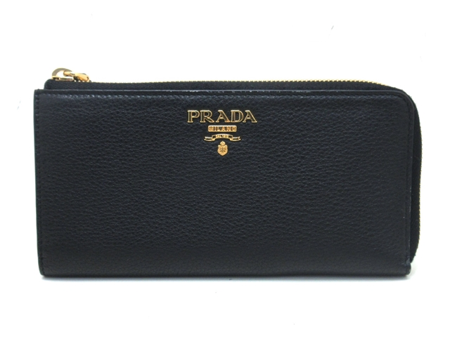 PRADA プラダ サイフ・小物 L型ZIP財布 財布 ブラック カーフ 1ML035 【432】【中古】【大黒屋】