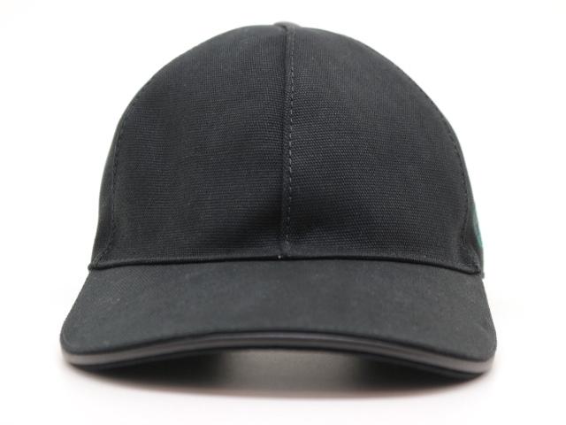 GUCCI グッチ 帽子 ベースボールキャップ キャンバス ブラック【200】【中古】【大黒屋】
