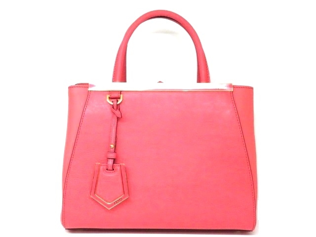 FENDI ハンドバッグ プティット2ジュール ピンク 型押し【204】【中古】【大黒屋】