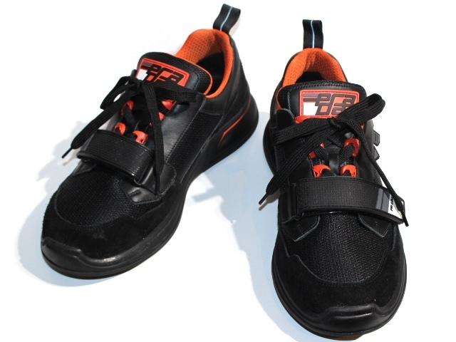 PRADA プラダ スニーカー メンズ8ハーフ 約27.5cm ブラック レザー スエード 2EG266【200】【中古】【大黒屋】