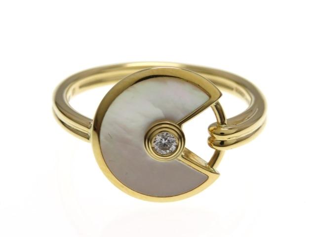 Cartier カルティエ アミュレット ドゥ カルティエ リング 指輪 K18YG イエローゴールド ホワイトマザーオブパール ダイヤモンド 51号 【474】【中古】【大黒屋】