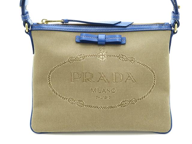 PRADA バッグ ワンショルダー ロゴ ブラウン/ブルー キャンバス/カーフ【430】【中古】【大黒屋】