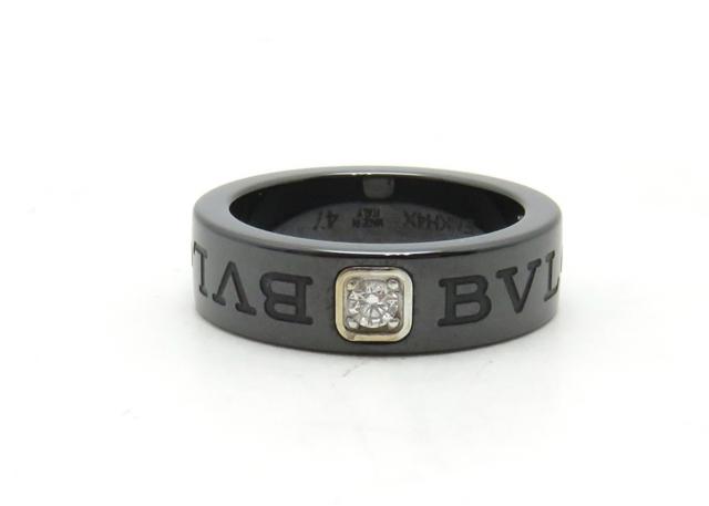 BVLGARI ブルガリブルガリ ダブルロゴDR WG 黒セラミック 1Pダイヤ3.5g 47号【431】【中古】【大黒屋】