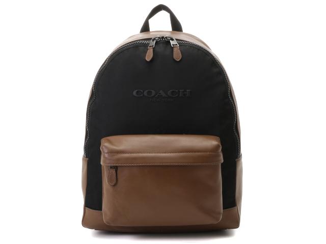 COACH コーチ バッグ リュックサック ブラウン/ブラック レザー/ナイロン F59321 【437】【中古】【大黒屋】