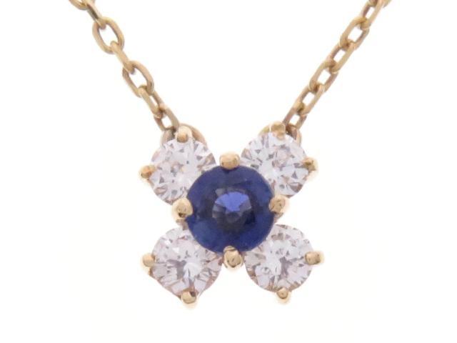 【送料無料】JEWELRY ノンブランドジュエリー サファイア ダイヤモンド ネックレス K18 S D 2.1g【434】【中古】【大黒屋】