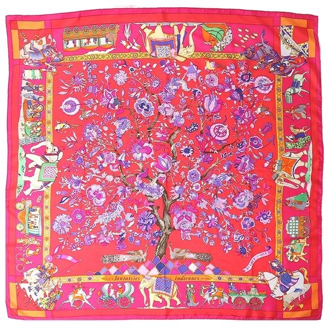 HERMES エルメス 衣料品 スカーフ カレ90  Fantaisies indiennes(眩惑のインド) ピンク シルク100  【205】【中古】【大黒屋】