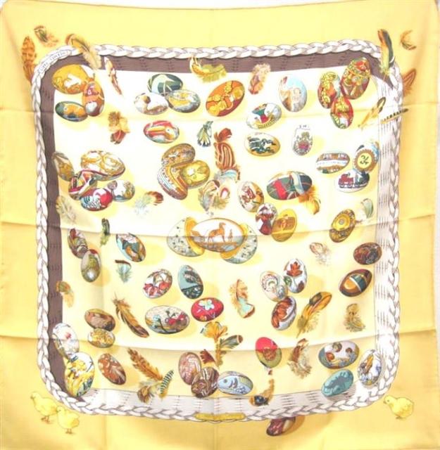 HERMES エルメス 衣料品 スカーフ カレ90 COUVEE D'HERMES(エルメスの雛たち) ベージュ シルク100 【205】【中古】【大黒屋】