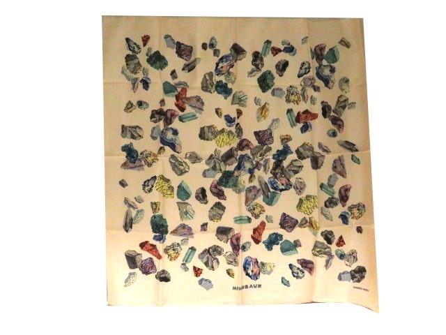 HERMES エルメス 衣料品 スカーフ カレ90 MINERAUX ベージュ鉱石 シルク【204】【中古】【大黒屋】
