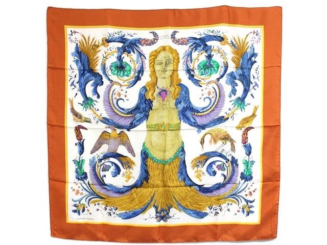 HERMES エルメス 衣料品 スカーフ カレ90 オレンジ シルク CERES 女神ケレス【204】【中古】【大黒屋】