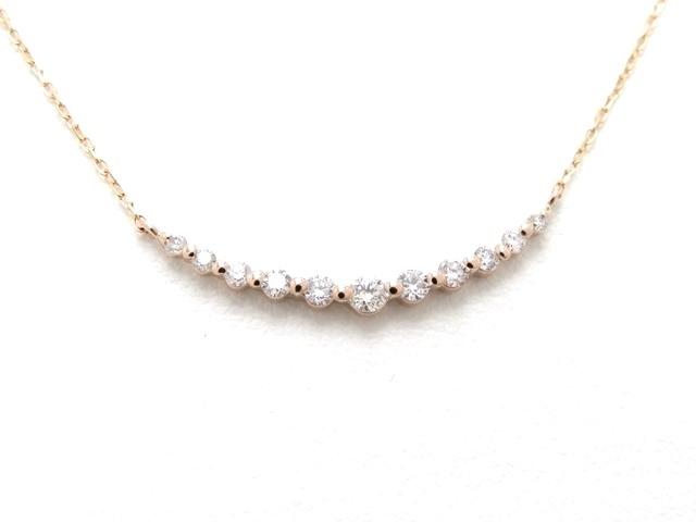 JEWELRY ノーブランドジュエリー ネックレス K18 ピンクゴールド ダイヤモンド 【474】【中古】【大黒屋】